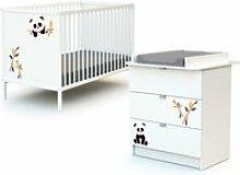 Webaby - lit bébé et commode à langer - panda