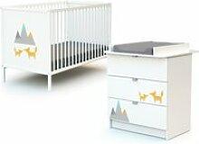 Webaby - lit bébé et commode à langer - renard