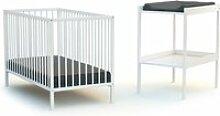 Webaby -  lit bébé et table à langer  - blanc