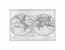 Wee Blue Coo 1779 Carte du monde physique vintage