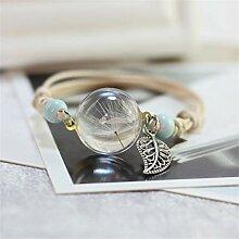 Weiy Fleur séchée Bracelet Bracelet de Boule de