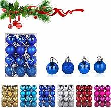 WELLXUNK Boules de Noël, 24 pièces Boule de