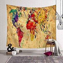 WERT Peinture Carte du Monde Tapisserie rétro