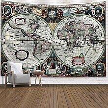 WERT Vintage Carte du Monde Motif Tapisserie