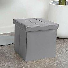 WEWE Cuir Pliable Rembourrés Cube Pouf Rangement