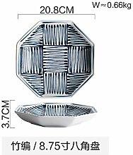 WFAANW Japonais octogonal ligne Plaque Couverts en