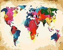 wgkgh Carte du Monde colorée Peinture par Numéro