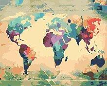 wgkgh Carte du Monde Peinture par Numéro Kits