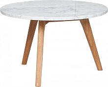 White Stone - Table basse ronde bois et marbre L