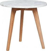 White Stone - Table basse ronde bois et marbre M
