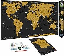 WIDETA Carte du Monde à gratter, Français/Poster