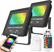 WiFi/Bluetooth Projecteurs LED Extérieur 24W,