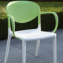Wilsa Family - Fauteuil de jardin vert et blanc
