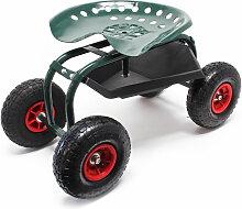 Wiltec - Siège de jardin sur larges roues Charge