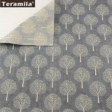 Winter Trees Linen Fabric Material Tissu