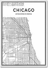 WJWAINI Carte du monde de Chicago - Impression sur