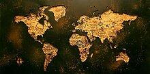 WJY Abstrait doré Carte du Monde Affiches