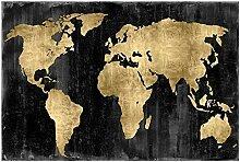 WJY Carte du Monde Toile Peinture rétro Affiches