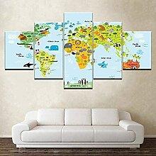 WNQMY Cadeau Créatif 5 Panneau Toile Mur Art