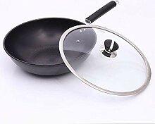 Wok avec poignée sans huile anti-bâton PAN non