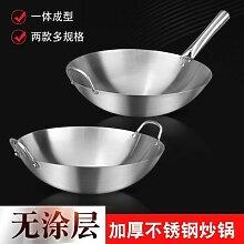 Wok chinois Extra épais en acier inoxydable,