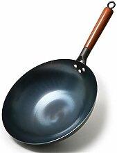 Wok de cuisine universel avec poignée en bois