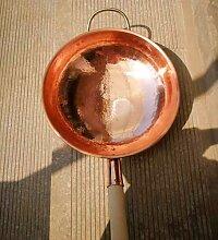 Wok en cuivre pur avec fond rond - Faitout en