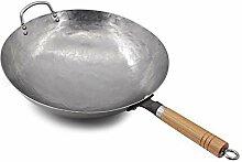Wok traditionnel martelé à la main en acier au