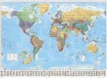 World Map - Carte Du Monde - 100X140 Cm Affiche /