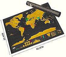 World Map Poster à gratter Deluxe XXL en noir et