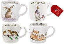 Wrendale Designs Lot de 4 tasses de Noël Motif
