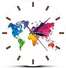 WSDDNXM Horloge Murale Ronde Colorée De Carte du