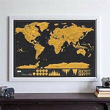 WSF-CARTE, 1pc Gold gratter la carte du monde,