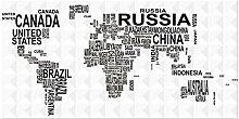 WSTDSM Carte du Monde des Pays par Nom Peinture