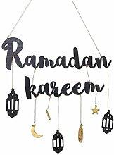 WSTERAO Ramadan Mubarak Black Alphabet Bannière