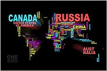 Wsxyhn Carte du Monde Affiche Mur Art Toile