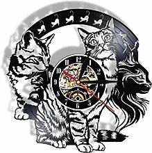 wttian Horloge Murale en Vinyle Mignon Chaton Chat