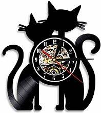 wttian Vinyle Horloge Murale Couple Chat Record