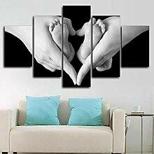 WUZHIXIN 5 Panneau Mural Art Peinture Amour Enfant