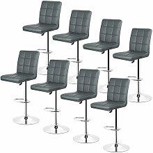 Wyctin - Gris-Lot de 8 Tabouret de bar, chaise de