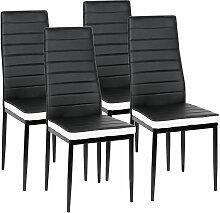 WYCTIN®Lot de 4 Chaises de Cuisine ROMANE noires
