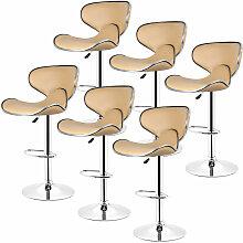 Wyctin - Lot de 6 Tabouret de bar, chaise reglable