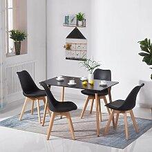 Wyctin - Table et 4pcs chaise noir à Manger