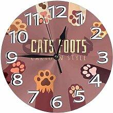 WYDSFWL Horloge Murale Pieds de Chat CartoonClock