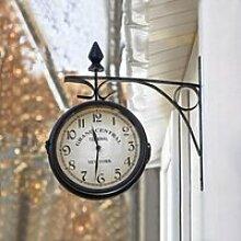 XF11810-Horloge de Gare Rétro Double Face Pendule