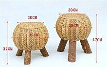 XinQing-Tabouret Table Basse Tabouret Bas en Rotin