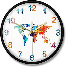 XINXIN Carte du monde Aquarelle Décoratif Horloge