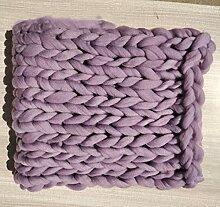 XITING Couverture en tricot épais à la main en