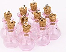 Xiton 10pcs Rose Mini Bouteille en verre bocaux