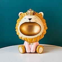 XJJZS Lion 3D, Figurine Miniature, Statue,